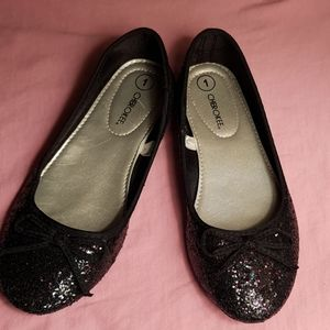 Black glitter ballet flats with string bow